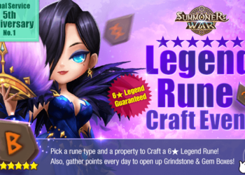 Global Service 5th Anniversary No. 1! 6★ Legend Rune Craft Event